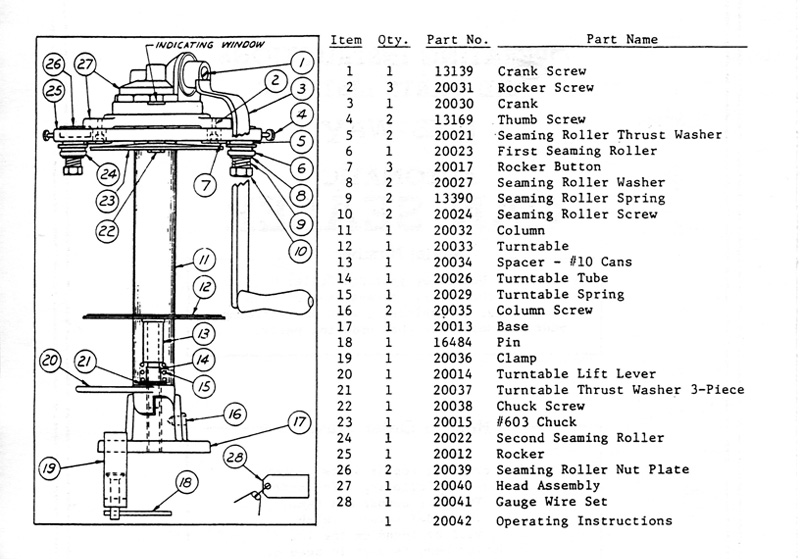 Ives-Way 603 parts list