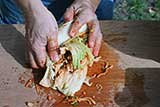 wrap the middle of the cabbage with outer leaves