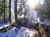 smokehouse in winter