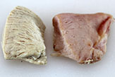 Chicken, left-raw, right-cured