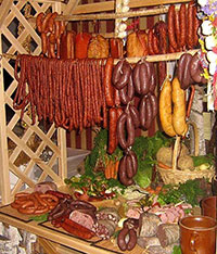 Variety of Polish sausages